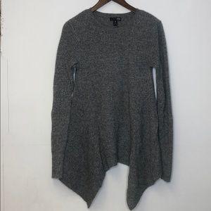 AQUA Cashmere Sweater Asymmetrical Gray Small